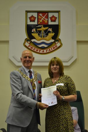 Vice President Alison Sales receiving an award from the Mayor of Fareham for five years volunary service for the local community