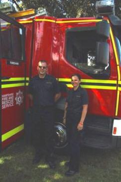 Fareham firefighters from 2 Red Watch Matt Rolfe and Emma Collier