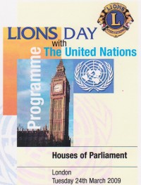 Lions Day with the U.N. 2009  Programme Cover design