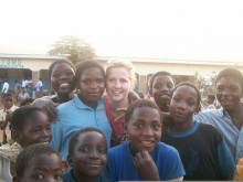 Rebecca with the older children in Malawi