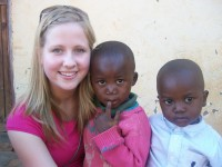 Rebecca and two children in Malawi