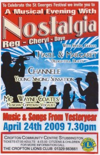 Poster giving all details of Nostalgia Variety Show on 24th April 2009 in Crofton Community Centre