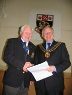 10 year award being presented by the Mayor, Cllr Brian Bayford