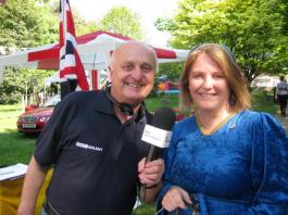 Lion Vicky Stabler being interviewed by Roger Hammett of BBC Radio Solent
