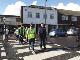 World Sight Day Oct 2014 Road crossing No.2 Lion Steve leading 020